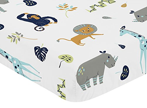 Sweet Jojo Designs Turquoise and Navy Blue Safari Animal Baby or Toddler Fitted Crib Sheet for Mod Jungle Collection (Baby Safari Boy Collection)