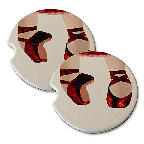 (New Vibe Ballerina Red Dress Ruby Slippers - Round Absorbent Natural Stone Car Coaster Set (Set of 2) Auto Drink Coasters)