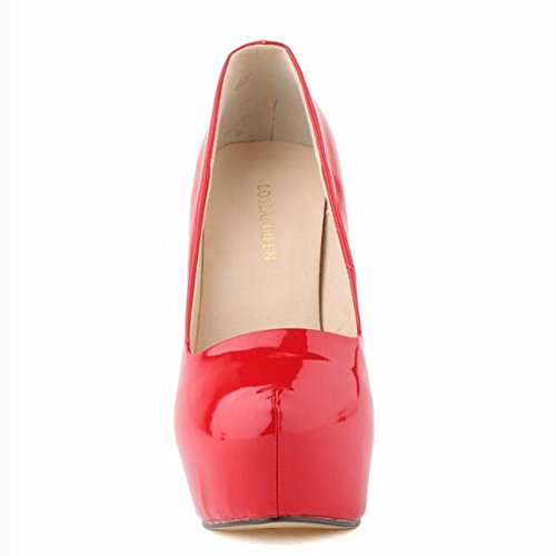 L@YC Women High Heels Nightclub PU Single Shoes Waterproof Table Dance Wedding Pump Pink 1N5nElK9s
