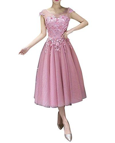 Rosa Brau Partykleider La Promkleider mia Abschlussballkleider Wadenlang Brautmutterkleider Cocktailkleider 2018 zaxXfw4q