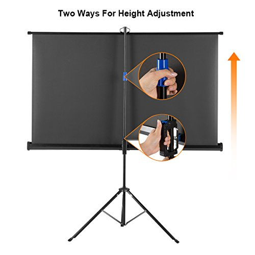Projector Screen with Foldable Stand Tripod, Excelvan Portable Video HD Diagonal 16:9 Indoor Outdoor Screen Adjustable Wrinkle-Free Design for Home Cinema Movie Projection(100 inch) by Excelvan (Image #3)