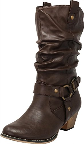 (Cambridge Select Women's Pull On Western Style Cowboy Boots (9 B(M) US, Brown))