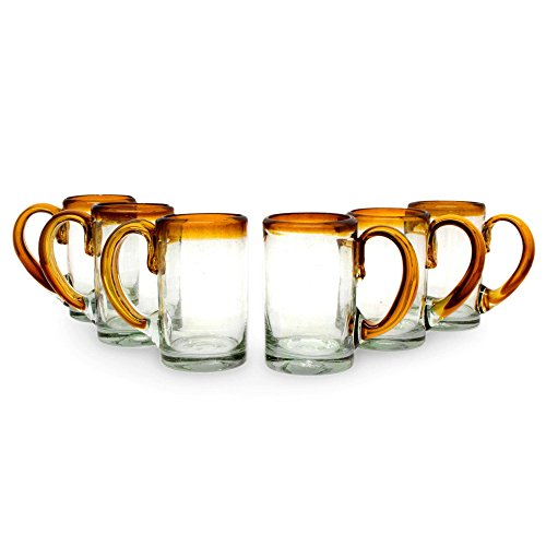 NOVICA Hand Blown Recycled Glass Amber Rim Beer Mugs, 16 oz. 'Amber Beer' (set of 6) ()