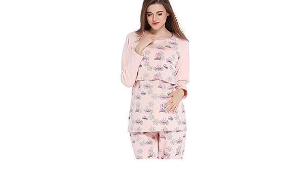 Pijamas Pijamas Mujeres Embarazadas de algodón Ropa de Dormir Copo de Nieve Impresión Lactancia Ropa Embarazo Homedressing Regalo de la Madre expectante Camisas de Pijamas: Amazon.es: Hogar