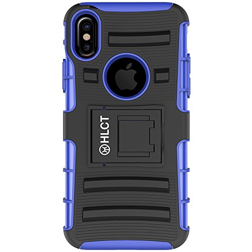 Price comparison product image iPhone X Case,  HLCT Rugged Shock Proof Dual-Layer Case with Built-In Kickstand (Blue)