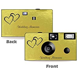 5 Pack Gold Foil Coupled Hearts Wedding Disposable Camera, Wedding Camera, Anniversary Camera, from CustomCameraCollection WM50145-C