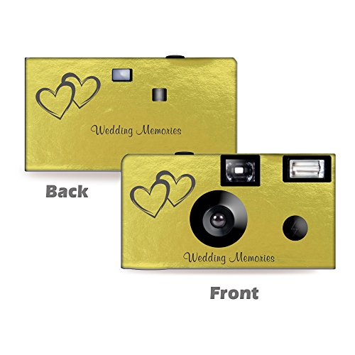 5 Gold Foil Coupled Hearts Wedding Disposable Cameras, Anniversary, Single use, Flash WM-50145-C