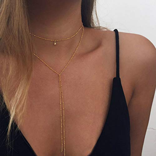 FDesigner Layered Lariat Necklaces Gold Satellite Y Pendant Chain Decorative Jewelry for Women and Girls