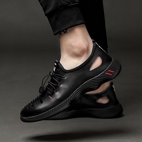 EU Negro Casuales 2018 para Marea los 47 New Tamaño de Size Zapatos de Otoño 35 Ocio Cuero Hueco Hombres de Zapatos de Hombre Gran Zapatos Zapatos de Genuino Agujero de Verano AwqXX5f8W
