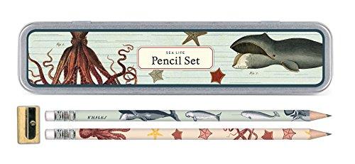 Cavallini Papers & Co., Inc. PS/SEA Sea Life Pencil Set 10 Pencils, 1 Sharpener