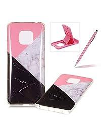 Soft Case for Huawei Mate 20 Pro,Anti Scratch Cover for Huawei Mate 20 Pro,Herzzer Stylish Pretty Black White Marble Stone Pattern TPU Bumper Flexible Shock Scratch Resist Rubber Case