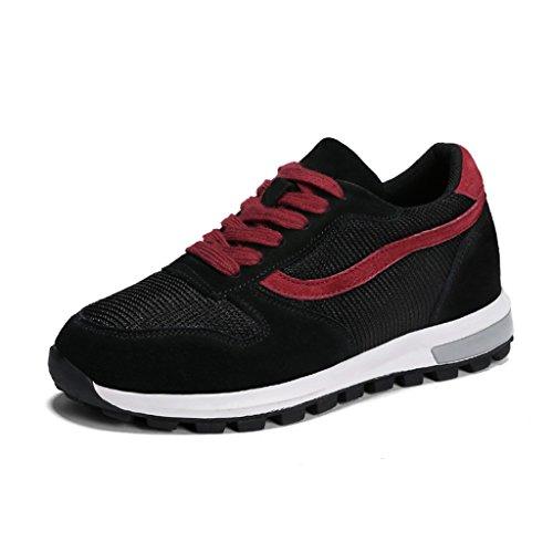 HWF Zapatos para mujer Zapatos deportivos de primavera Zapatos planos de malla Malla Zapatos casuales gruesos Zapatos de mujer Mujer ( Color : Black red , Tamaño : 40 ) Black Red