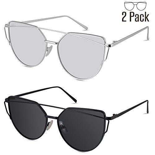 Livhò Sunglasses for Women, 2 Pack Cat Eye Mirrored Flat Lenses Metal Frame Sunglasses UV400 (Silver Silver + Black - Singlasses