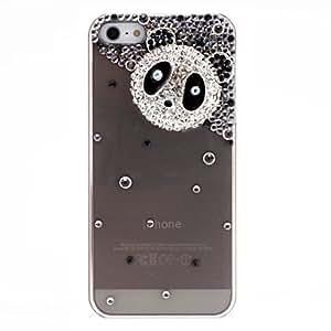 Delicado patrón de cabeza panda con la caja dura transparente del diamante con adhesivo de uñas para el iPhone 5/5S