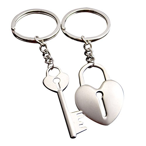 Galaxia Air Metal Heart-Shaped Key Couple Keychain with Gift Box for Men and ()