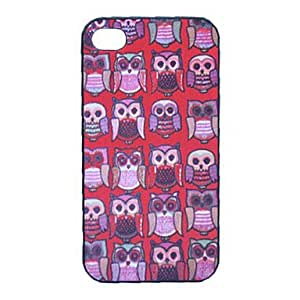 DUR Cartoon Owl Pattern Plastic Back Case for iPhone 4/4S , Red