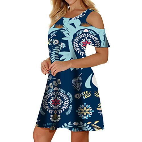 Dress with Pockets, Misyula Women Bohemian Dresses for Women Plus Size Summer Casual Loose Cold Shoulder Short Sleeve Scoop Neck Sundresses Swing Flowy Floral Print Day Wear Dark Blue Flower XXL
