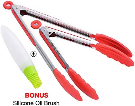 OTHERMAX Premium Silicone Kitchen Tongs Set (9