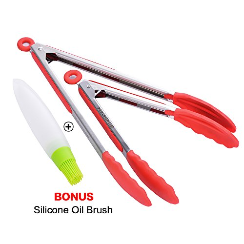 OTHERMAX Premium Silicone Kitchen Tongs Set, Heat Resistant Cooking Tongs with Silicone Tips for BBQ, Salads,Grilling,Serving and Fish Turning - Bonus Silicone Oil Brush