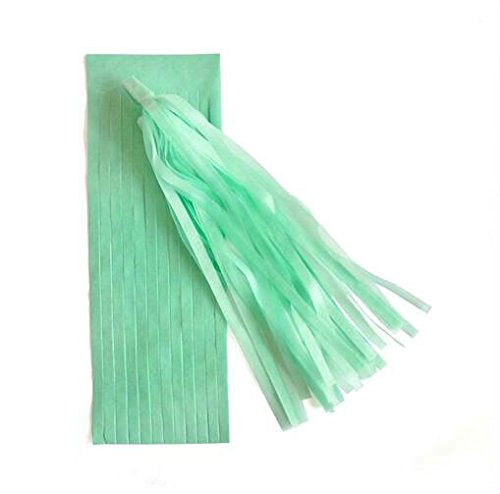 Somnr 5pcs 14 Inch Tissue Paper Tassel Garland Diy Wedding Decoration Paper Flower Decorations Birthdays Party Decorations Event Gift Pack (Mint Green)