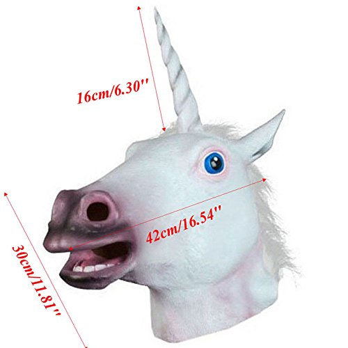 Unicorn Horse Head Mask Latex Prop Animal Cosplay Costume Party Halloween (Disney Belle Costumes Custom)