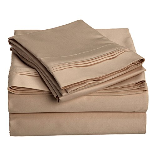 1000 Thread Count 100% Egyptian Cotton, Queen Bed Sheet Set, Single Ply, Solid, Taupe