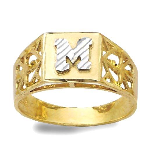 - LoveBling 10K Yellow Gold Diamond Cut Ladies Alphabet Initial Ring, Block Lettering (M, 10)