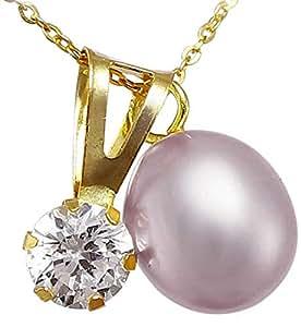 Vera Perla Women's 18K Yellow Gold Pearl and Solitaire Pendant Necklace, Purple
