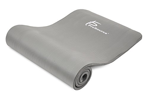 ProSource Premium 1/2 Inch Extra Thick 71 Inch Long High Density Exercise Yoga Mat with Comfort Foam and Carrying Straps, Grey, Frustration Free Packaging