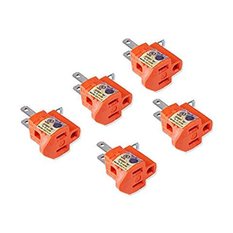 Flexzion 3-Prong to 2-Prong Adapter (5 Pack) - 3 Pin to 2 Pin Power AC Ground Lifter Electrical Outlet Grounding Wiring Plug Socket Converter Extension (3 To 2 Pin)