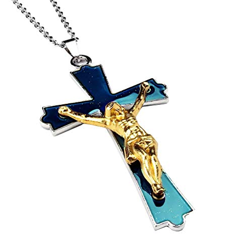 Acchen Mood Necklace Christian Jesus Christ Cross Change Color Emotion Feeling Pendant Jewelry Necklace