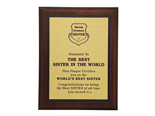 aahs!! Engraving Worlds Greatest Plaques (Best Sister in The World, Gold)