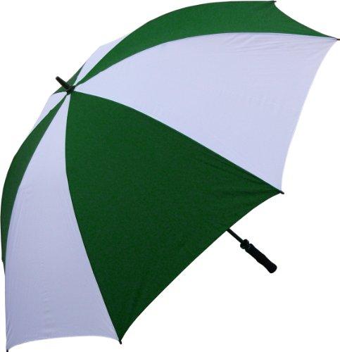 Oversize Windproof Golf Umbrella (Dark Green and White) (68 Inch Fiberglass Shaft Umbrella)