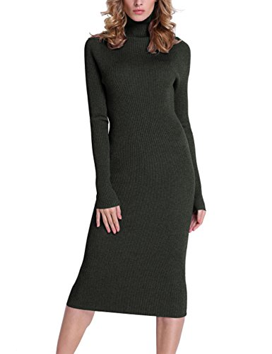 Rocorose Women's Turtleneck Ribbed Elbow Long Sleeve Knit Sweater Dress,Blackish Green,Large