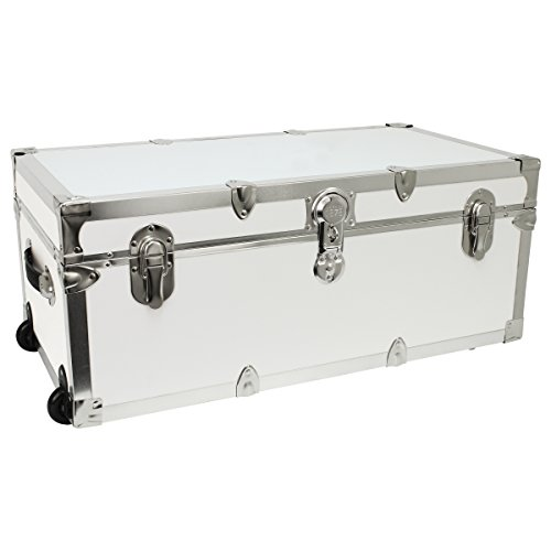 Seward Trunk Footlocker Trunk with Nickel Trim, White, 30-Inch (SWD7130-00) -