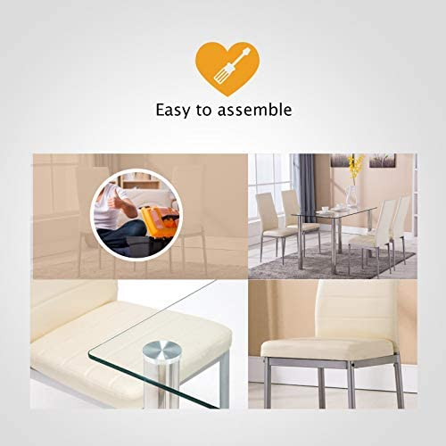 home, kitchen, furniture, kitchen, dining room furniture,  table, chair sets 8 image Mecor 5 Piece Dining Table Set Tempered Glass promotion