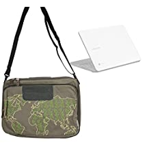 DURAGADGET besace / messager - motifs monde vert kaki pour ordinateurs portables Samsung Chromebook 2, Series 6, 7 et 9