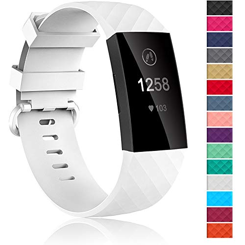Velavior Waterproof Bands for Fitbit Charge 3 / Charge3 SE, Replacement Wristbands for Women Men Small Large (White, Large)