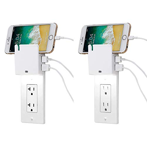 Gang Snap (BESTTEN Decor Outlet Wall Plate with Dual USB 3.1A Charging Ports and Dusk to Dawn LED Sensor Guide Night Light, Outlet Cover with Phone Holder for Decorator Receptacle, White, Pack of 2)