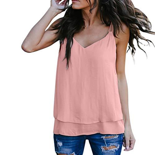 Sunhusing Women's V-Neck Solid Color Double Layer Sleeveless Vest Small Sling Spaghetti Tank Tops -