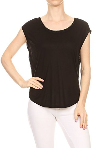 - Women's Athletic Sleeveless Stretchy Top Solid Color Raceback Fashion Loose T-Shirt (M, GT/93-Black)