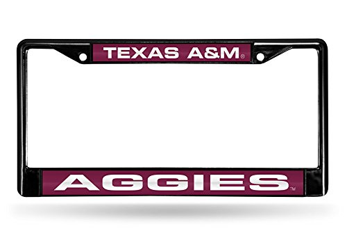 Rico Industries NCAA Texas A&M Aggies Laser Cut Inlaid Standard Chrome License Plate Frame, 6
