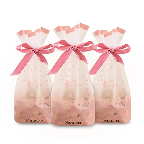 Naranqa Premium Sakura Pink Treat Bags Party Favor Bags Dessert Bags Cookie Bags Candy Bags Food Storage Bags with Twist-Tie Bonus 101 Cooking Tips