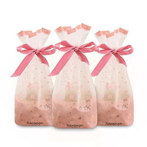 Naranqa Premium Sakura Pink Treat Bags Party Favor Bags Dessert Bags Cookie Bags Candy Bags Food Storage Bags with Twist-Tie Bonus 101 Cooking Tips]()