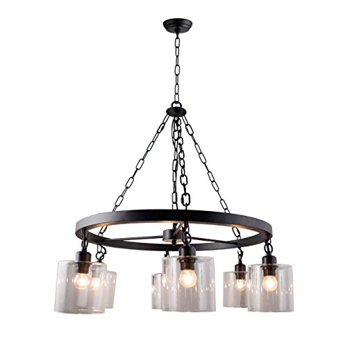 Wagon Wheel Chandelier with hanging Mason Glass Filament Jar Pendant Lamp Transitionnal 6 Light Country Rustic Style Rubbed Bronze (Wagon Wheel Light Fixture With Mason Jars)