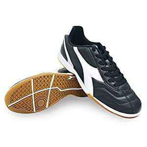 Diadora Men's Capitano ID Indoor Soccer Shoes (9.5 D(M) US Men, Black, White, Silver)