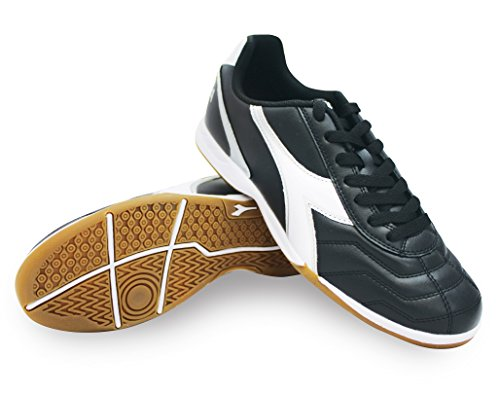 Diadora Men's Capitano ID Indoor Soccer Shoes (12, Black/White/Silver)