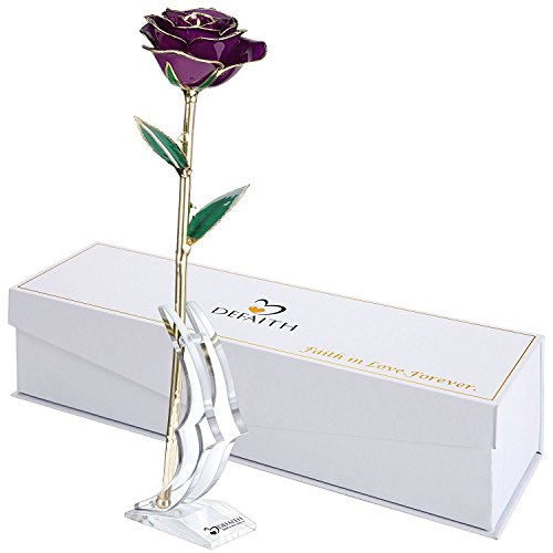 DEFAITH Purple 24K Gold Rose, Unique Anniversary Gifts for Mother Wife Girlfriend Her Women, Made from Real Rose Flower with Stand