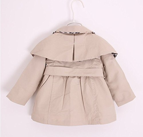 Kids Baby Girl Spring Autumn Trench Coat Fashion Wind Proof Jacket Khaki 9-12 Months/Tag 8 by MNLYBABY (Image #1)