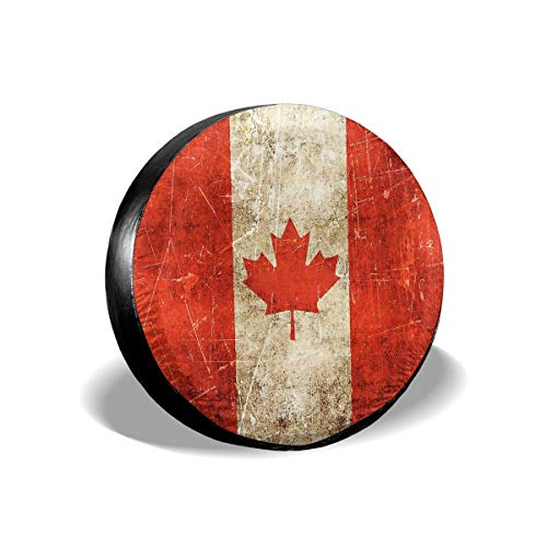 ZP-CCYF Canada Flag Universal Fit Tire Covers Waterproof Dust-Proof Spare Tire Cover for Jeep,Trailer, RV, SUV Truck and Many Vehicle Size 14